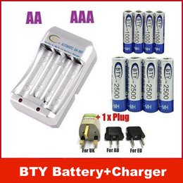 Wholesale Rechargeable Battery Aa Charger - NEW 4+ 4 4x 1.2V AA 2500mAh 4x 1000mAh NiMH Ni-MH Rechargeable Recharge Battery + Charger