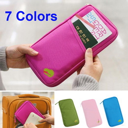 Wholesale Uk Wallet - Free Shipping 7 Colors UK Travel Bag Wallet Purse Document Organiser Zipped Passport Tickets ID Holder