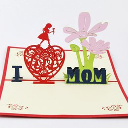 Wholesale Pop Cubes - Cube Life Flowers Mother's Day Greeting Cards Thanksgiving Blessing Greeting creative paper art 3D stereoscopic 2015 3D Handmade Card 3D Pop