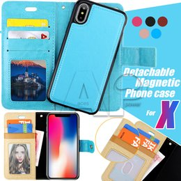 Wholesale Magnets Cards - For iphone X 10 8 7 plus Galaxy S8 Note8 2in1 Magnetic Magnet Detachable Removable Wallet Leather Retro Case