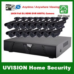 Wholesale 16ch Dvr Cctv - HDMI 16ch full D1 DVR Kit CCTV System 16pcs 600TVL Waterproof IR outdoor Cameras 16ch Security Camera system 16pcs 18m cctv cable