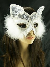 Wholesale Sexy Costumes For Role Play - Sexy Half Face White Lace Fur Fox Cat Masquerade Mask Catwoman Mask Costume Mask Role-play Mask Ball Mask Halloween Party Mask