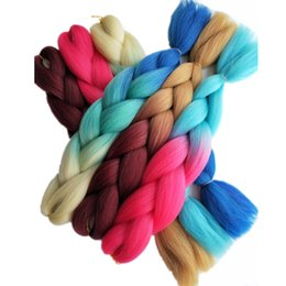 Wholesale Hair Braiding Hairstyles - 5pcs lot 24inch Synthetic Jumbo Braids Hair Extensions Bulk for African Crochet Twist Box Faux Locs Hairstyle Blonde Blue Ombre Braiding