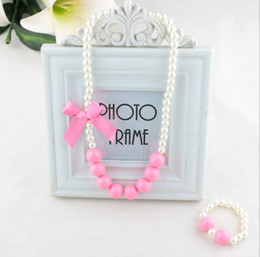 Wholesale Pearls Bracelets Bows - Baby Kids Girls Pearl Necklace and Bracelet 2Sets Jewelry 2016 New Multicolor Lace Bow Flowear Bead Necklace Accessories ZZ-825