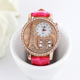 Wholesale Eiffel Watches - Women rhinestone watches The Eiffel Tower Watche Luxury Crystal Brand Gogoey