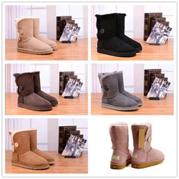 Wholesale Hot Australian - 2018 Hot Sale Australian classic genuine leather wool fur lined Ankle Boot suede women winter snow boots bailey bow navy brown Free shipping