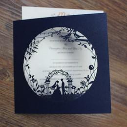 Wholesale Party Invitations Wedding - Wedding ceremony engagement invitation card elegant navy blue wedding party decor custom printing dinner invite cards