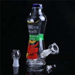 Wholesale Bud Pipes - Smoking Dogo 2016 New Arrival Enjoy Minute Buds 420% Apple Juice Bottle bong Joint Size Male 14.4mm Height 7.9''Glass Water Pipes BO-046