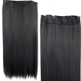Wholesale 125g Hair Extensions - 55cm Long Straight Synthetic Clip in Hair Extension Heat Resistant 5 Clip Hairpiece 125g Black Blonde Brown Color