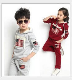 Wholesale Spring Big Flag - Big Boys Girls Casual Tracksuit Set Retail 2015 Hot Sale Children's Long Sleeve American Flag Hoodies Tops+Trousers 2pcs Kids Suits Outfits