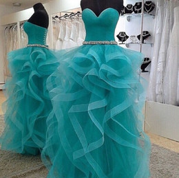 Wholesale Strapless Tulle Ballgown - Real Samples Sweetheart Strapless Prom Dresses Tulle Ruffled Crystals Belt Lace-up Ballgown Quinceanera Dresses Pageant Gowns