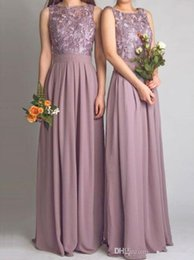 Wholesale Mauve Bridesmaid - Dusty Mauve Bridesmaid Dresses For Wedding With Applique Pleat Jewel Sleeveless Open Backless Bridesmaid Gowns Long Formal Gowns Prom