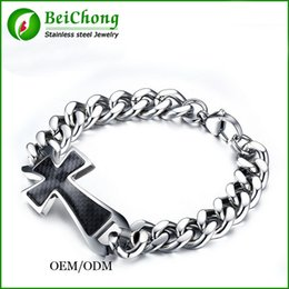 Wholesale Fiber Link - BC Jewelry 23 mm wide cross men silver bracelets chunky bracelets 316L stainless steel bracelets men With carbon fiber Free Shipping BC-090
