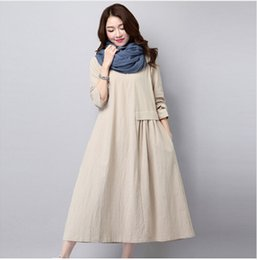 Wholesale Linen Dresses Large - Literary Solid Color Pleated Fashion Long Sleeved Loose Large Size Linen Dress Casual Women's New Spring And Autumn
