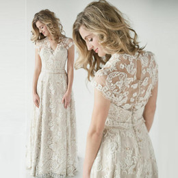 Wholesale Modest Short Sleeve Wedding Gown - Modest Lace Wedding Dresses V Neck Cap Sleeves See Through Back Floor Length Champagne Country Wedding Dresses Bridal Gowns Sweep Train