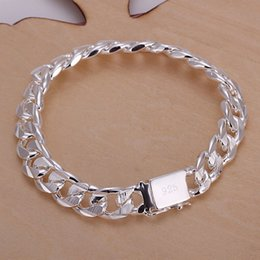 Wholesale Silver Plated Curb Chain - New Arrival Men's Bracelet 925 Sterling Silver Bracelet 10mm Curb Chain Men's Bracelets jewelry Good Gift
