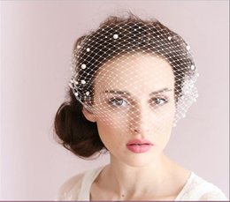 Wholesale Cheap Blusher Veils - New Real Image Bridal Veils 2016 Cheap Modest No Profit Beads White Pearl Adorned Bandeau Birdcage Veil With Comb Fashion Wedding Veils Sexy