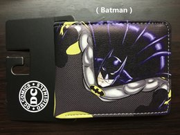 Wholesale Vintage Halloween Bat - Comics DC Marvel Bioworld Batman Wallets Cartoon Anime Bat Men Purse Super Hero Dollar Holder Bags PVC PU Leather Short Wallet