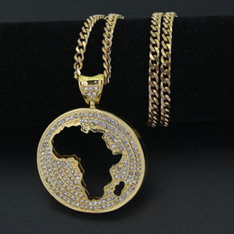 Wholesale Crystal Map - New Fashion Round Crystal Africa Map pendant Hip hop Necklace Jewelry Bling Bling Iced Out N624