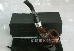 Wholesale Carved Wood Pipes - FREE SHIPPING 10pcs lot high-grade CF-8033 Knight Series Carved Decoration Solid Wood Tobacco Pipe, gift box with Leather Case   Shelf