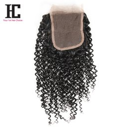 Wholesale top hair factory - HC Factory Wholesale Unprocessed Malaysian Human Hair Lace Top Closure4x4 Free Part Natural Color 8-20Inch Virgin Curly Lace Closure
