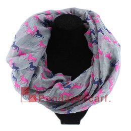 Wholesale running free horses - New Fashion Women's Winter Infinity Scarf Running Horse Print Loop Ring Scarf Long Polyester Shawl 6 Colors Available, Free Shipping, SC0058