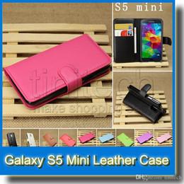 Funda mini s5 online-Para Galaxy S5 Mini Folio Stand Flip PU Cartera de cuero Titular de la tarjeta cubierta de la caja para Samsung S5 Mini G800