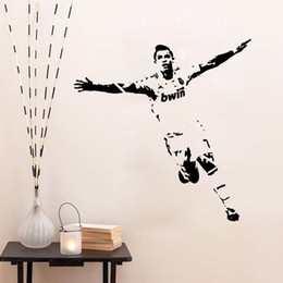 Wholesale Free Sports Posters - Footballer Soccer Wall Sticker Vinyl Art Decals Sport Poster Vintage Wall Stickers for Kids Room Home Decor Free Shipping