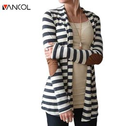 Wholesale Spotted Winter Coat - Wholesale- Vancol 2016 Fall Winter Spot Arm Patch Cardigan Coat Female Cotton Loose Long Sleeve Striped Black Patchwork Knit Women Cardigan