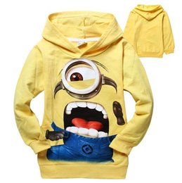 Wholesale Yellow Minion Kids T Shirts - free shipping 2015 new Autumn Hot Sale Despicable Me Minions Printed Boys Girls Hooded T Shirt Kids Clothes Fit 2-8Age 90-140 5pcs lot