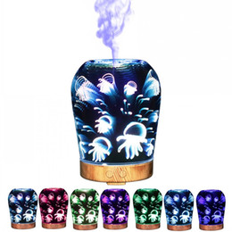 Wholesale Jellyfish Lighting - Vase Shape 3D Humidifier Household Ultrasound Jellyfish Pattern Essential Oil Diffuser Magic Light Aroma Mist Maker For Office 125zk B R