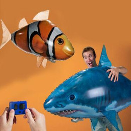 Wholesale Rc Air Swimmer Shark - IR RC Air Swimmer Shark Clownfish Flying Air Swimmers Inflatable Assembly Swimming Clown Fish Remote Control Blimp Balloon CCA8089 50pcs