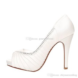 Wholesale Ivory Satin Pump - fashion women crystals satin shoes for wedding ivory champagne red wedding high heels beaded bridesmaid prom party shoes