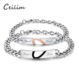 Wholesale Romance Jewelry - Fashion Real Love Sweet Gift Stainless Steel Jigsaw Puzzle Lovers Couple Bracelet Bangles For Man Woman Europen Romance Men Promise Jewelry