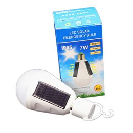 Wholesale rechargeable bulb solar - New E27 7W Solar Lamp 85-265V Energy Saving Light LED Intelligent Lamp Rechargeable Solar Emergency Bulb Daylight 100+