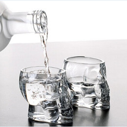Wholesale Glasses For Cocktails - Crystal Skull Head Vodka Shot Glass Wine Cup Drinking Ware Mugs for Home Bar Party Cocktail Beer Mini Whisky Cups 75ml