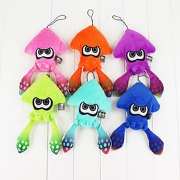 Wholesale Green Gifts For Kids - 6pcs lot 25cm Splatoon Inkling Plush cartoon Doll Toy Squid stuffed Lime green animal doll Pendant cute Christmas gift for kids