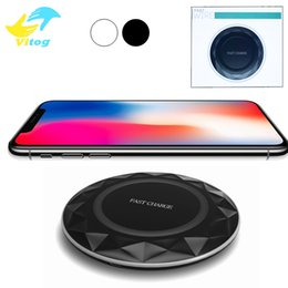 Wholesale Iphone Light Usb Cable - For Iphone 8 X Qi Fast Wireless Chargers pad Diamonds Ultrathin With LED Light With USB Cable For Samsung S6 S7 Edge S8 Plus Note5 8