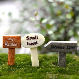 Wholesale garden sign - 3Pcs Resin sign board bonsai Figurines Micro Landscape Crafts signboard miniatures fairy garden moss terrarium decor