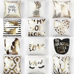 Wholesale Sequins Pillows - Bling Sequin Bronzing Pillowcase Pillows Case Cover Pillow Art Stripe Lips Eyelash Black White Gold Bedroom Home Sofa Decorative