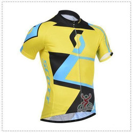Wholesale Compression Bib Shorts - factory price Team Scott Short Sleeve Cycling Jersey(Bib Pants)Set Men Montain Road Bicycle Wear Compression Short Bib Sets