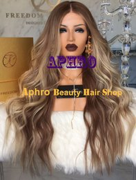 Wholesale Blonde Medium Wavy Wig - Luxury Brown with Front Blonde Glueless Full Lace Wigs with Silk Top 5x5 inch Brazilian Virgin Hair 20-30 inch 180% Density Natural Wavy