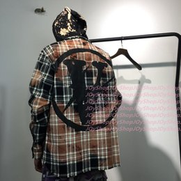 Wholesale Fr S - Europe and United States tide brand vlone electric stitching plaid FR shirt to do old damage plaid shirt loose version of the jacket