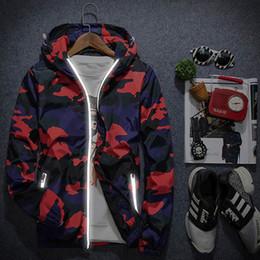 Wholesale Field Jackets Xl - 2018 New Reflective Jacket Camouflage Print Hooded Jacket Men Women Windbreaker Waterproof Field Jackets Fashion Casual Sport Coat NSG0902