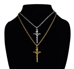 Wholesale Jesus Cross Real - Top sale high quality low price real 18k gold plated jesus cross pendant necklace religious jewelry crucifix necklace