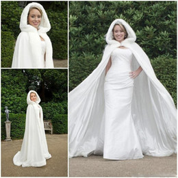 Wholesale White Winter Hooded Wedding - 2016 Cheap Bridal Cape Ivory Stunning Wedding Cloaks Hooded with Faux Fur Trim Ankle Length White Perfect For Winter Long Wraps Jacket