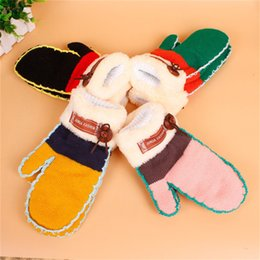 Wholesale Yellow Ladies Gloves - Hot! Wholesale New Fashion Lovely Womens Ladies' Winter Thick Knitted Gloves Warm Twist women Mittens 4 colors Free Shipping MOQ:10 Pair