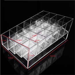 Wholesale Display Stand Holder Clear - 24 Lattice Trapezoid Lipstick Holder Display Stand Clear Acrylic Cosmetic Organizer Makeup Case Sundry Storage Box Case
