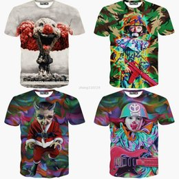 Wholesale Clown Clothes - 3D Harajuku Women Men Camouflage Soldier Clown lady t shirt t-shirts Printed Galaxy summer for Girls tops 2016 new clothes