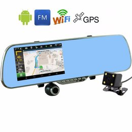 "Wholesale gps dvr wifi - 5"" Android Touch Car DVR GPS Navigation Rearview Mirror Car Camera Dual Lens Wifi Dash Cam Full HD 1080P Video Recorder"